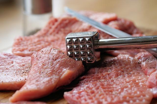 Meat Hammer, Meat Tenderizer, Schnitzel, Meat, Raw