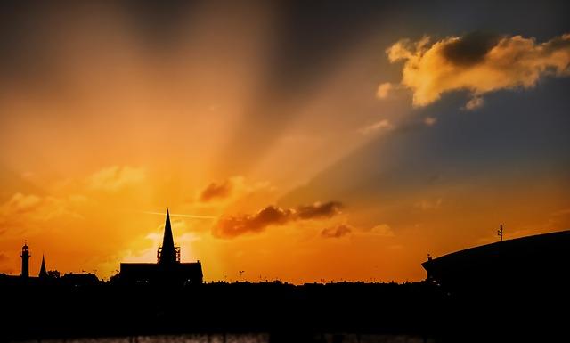 Church, Sunrise, Rays, Bornholm, Lighting, Light
