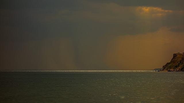 Rock, Sea, Clouds, Rays