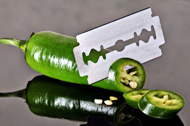 Pepperoni, Green, Sharp, Cut, Knife, Razor Blade