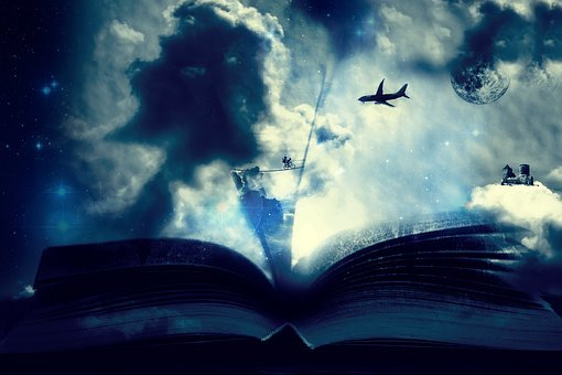Fantasy, Photomontage, Aircraft, Book, Reading, Dream