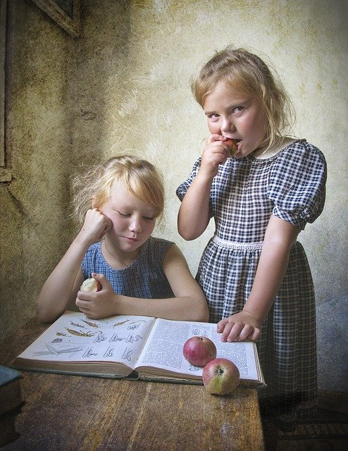 Kids, Book, Retro, Apples, Girls, Reading, Sisters