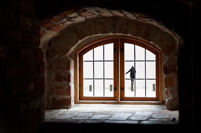 Woman, Attic, Snow, Window, Winter, Recess, Clouds