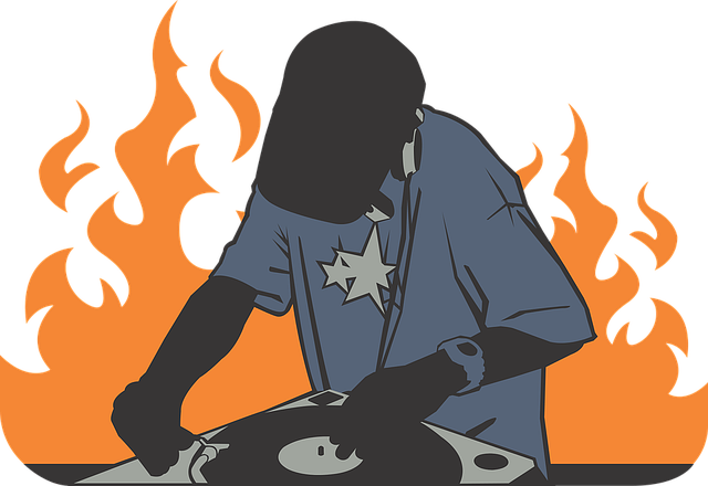 Deejay, Fire, Orange, Record, Burning, Tshirt, Hip Hop