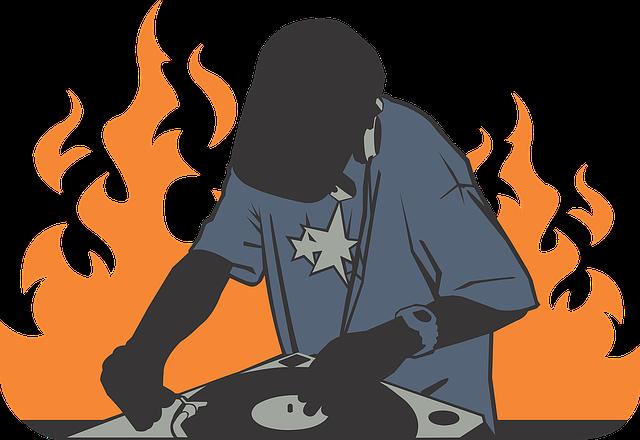Deejay, Fire, Orange, Record, Burning, Tshirt, Hip Hop