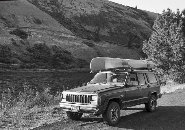 Jeep, Canoe, River, Idaho, Recreation, Retro, Vacation