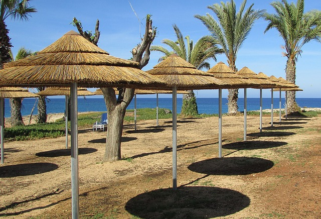 Cyprus, Protaras, Resort, Umbrellas, Recreation