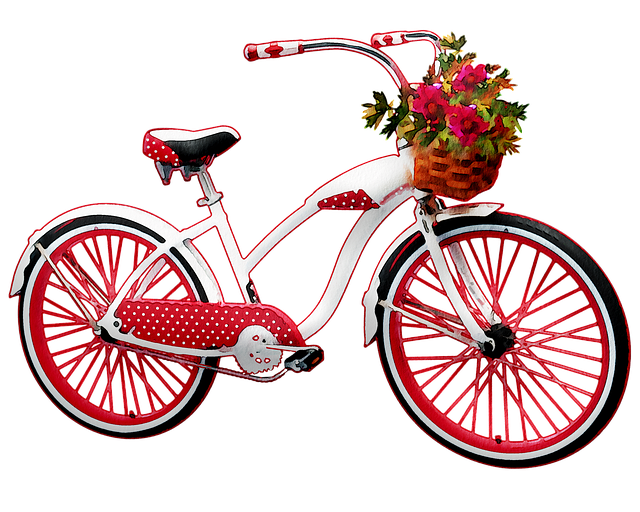 Watercolor Bicycle, Red And White, Bicycle, Flowers