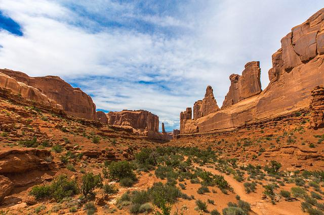 Utah, Arches, Park Avenue, Stone, Formation, Red