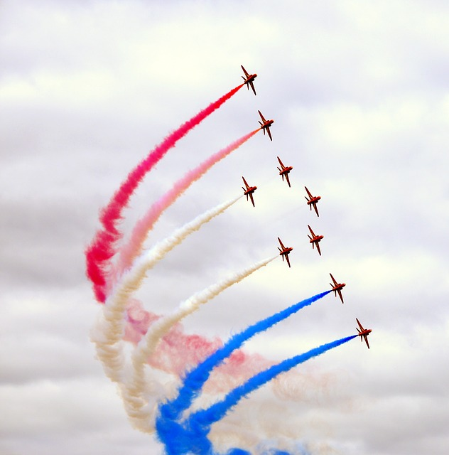 Red Arrows, Farnborough, Air Show, United Kingdom