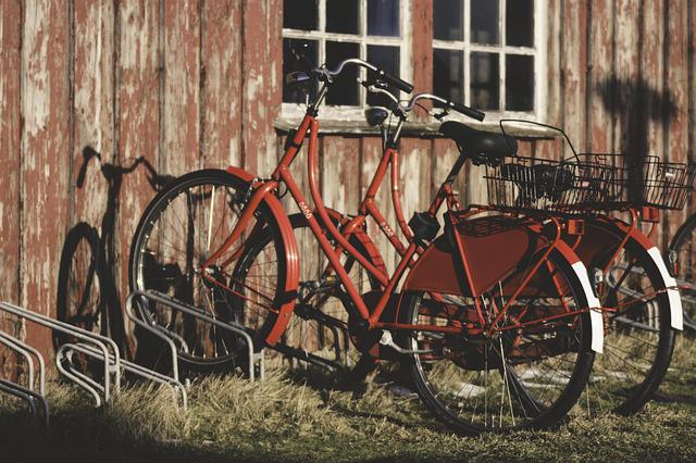 Bicycles, Red, Bike, Series, Hauswand