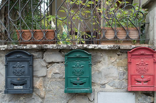 Post, Mailbox, Wall, Letter Boxes, Red, Green, Black