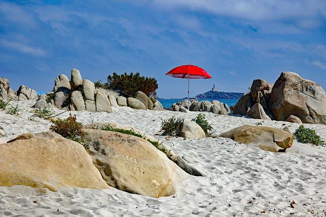 Sun, Parasol, Red, Beach, Blue Sky, Sea, Shade Tree
