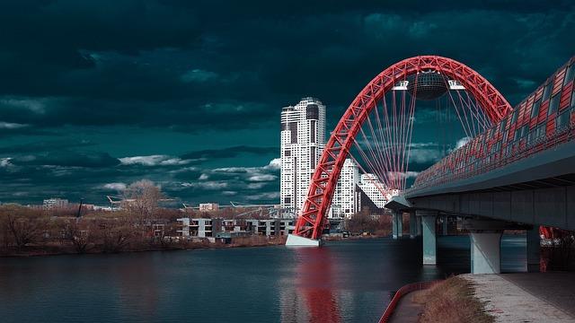The Picturesque Bridge, Red Bridge, Water, Road, City