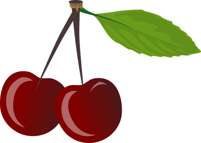 Brace, Cherries, Cherry, Food, Leaf, Pair, Red, Ripe