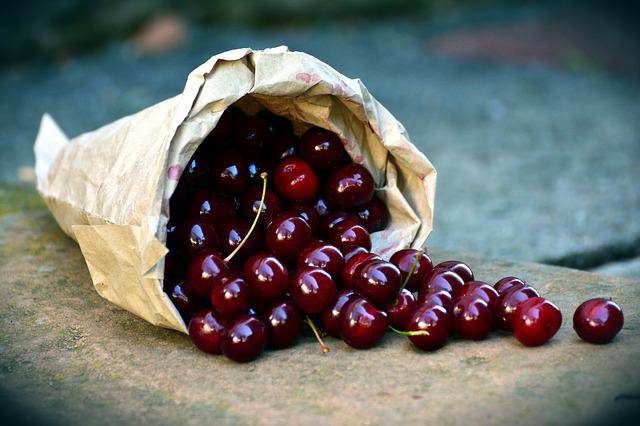 Cherries, Fruit, Sour Cherries, Bag, Harvest, Red, Ripe
