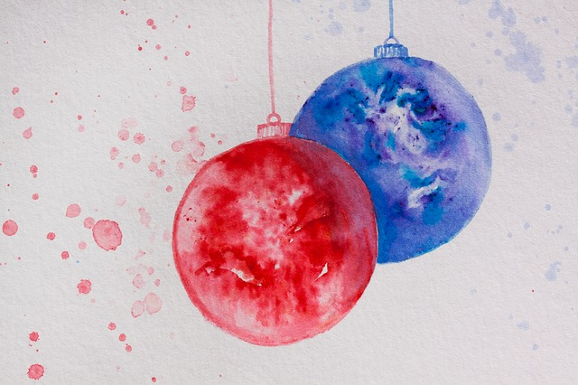 Christmas, Map, Ball, Christmas Ornament, Red, Blue