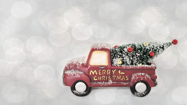 Merry Christmas, Red, Truck, Christmas, Festive