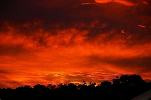 Sunset, Red, Horizontal, Clouds, Sunlight, Orange