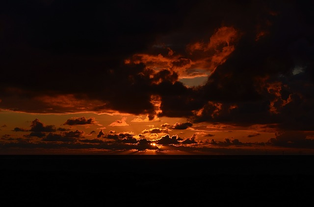 Sunset, Mood, Sea, Lighting, Borkum, Red Clouds