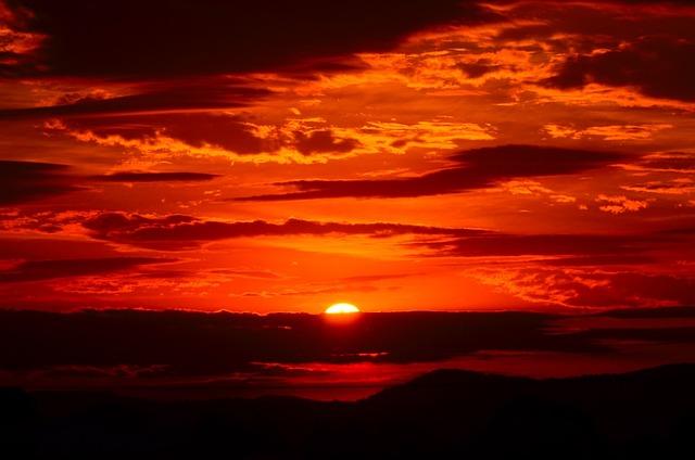 Sunset, Red, Sky, Fiery, Orange, Clouds, Cloudy