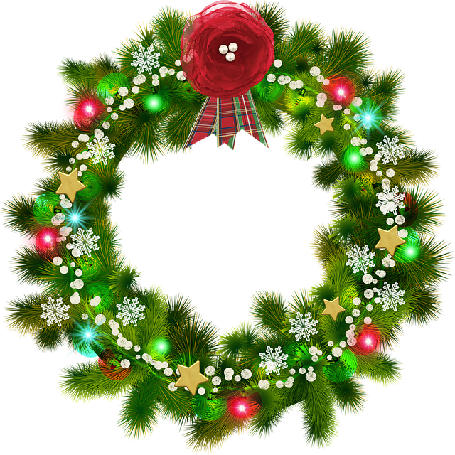 Christmas Wreath, Red Flower, Christmas Snow
