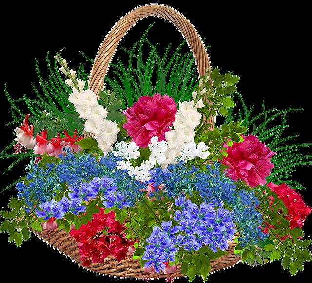 Recycle Bin, Wicker, Basket, Flowers, Plants, Red