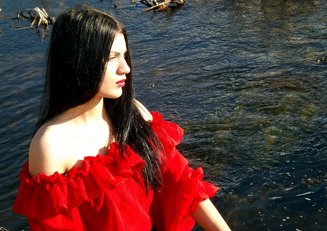 Girl, Gipsy, Lake, Red, Beauty