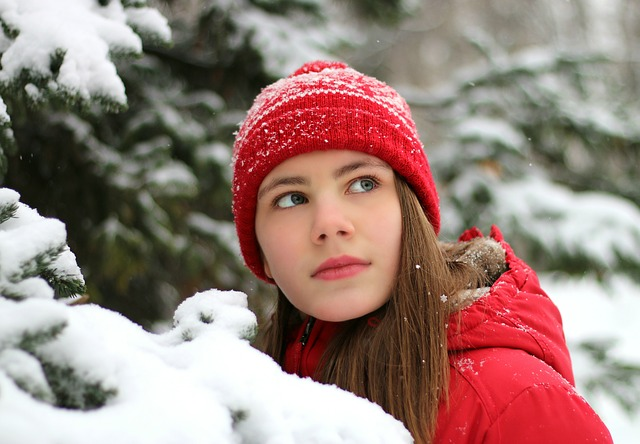 Snow, Girl, Winter, Red, Cap, Cold, Street, Christmas