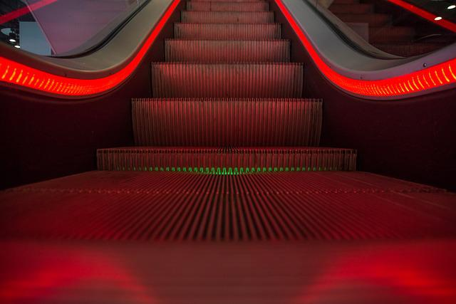 Escalator, Red, Moving, Stairway, Going Up, Going Down