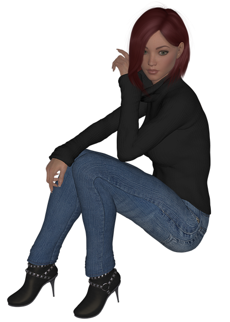 Girl, Female, Red Hair, Boots, Pants