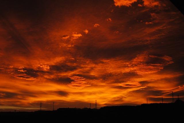 Sunset, Sky, Red, Heaven
