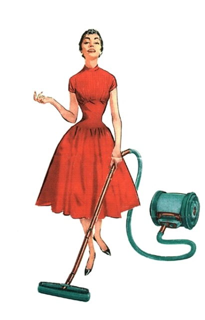 Retro, Vintage, Lady, Housewife, Red, Dress, Smiling