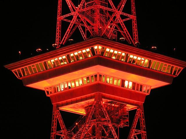 Radio Tower, Berlin, Night, Red, Illuminated, Lighting