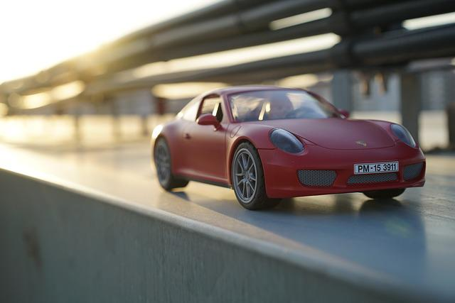Porsche, Car, Playmobil, Toy, Red, Glow, In The Evening