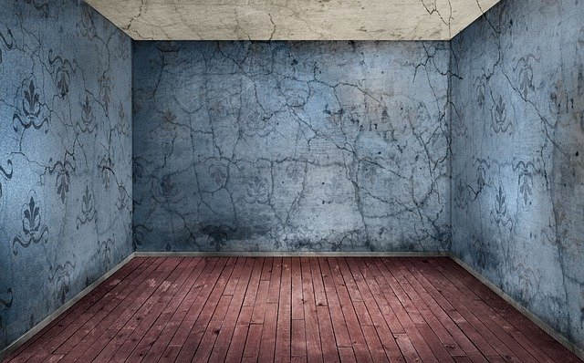 Room, Empty, Interior, Wood Floor, Red, Wall, Blue
