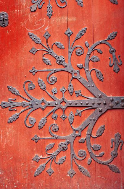 Door, Red, Ironwork, Architecture, Alsace