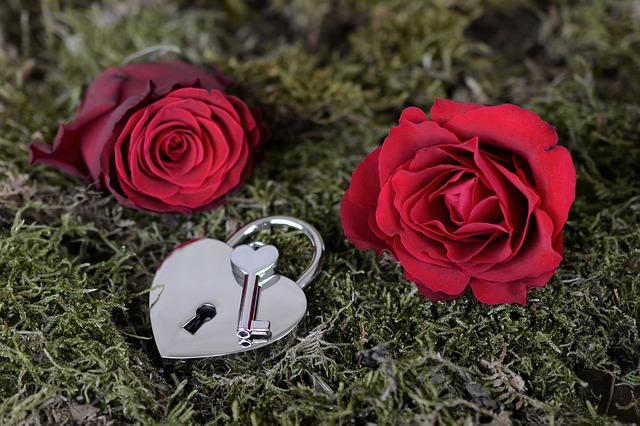 Rose, Heart, Castle, Key, Open, Red, Red Rose