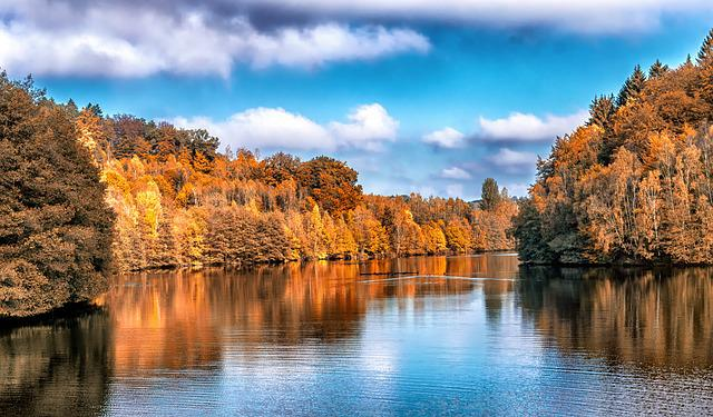 Autumn, Landscape, Lake, Trees, Red, Indian Summer