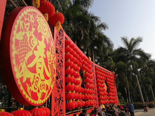 Chinese New Year, Red Lantern, Spring, Red