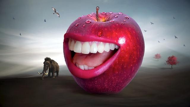 Fantasy, Apple, Red, Mouth, Tooth, Laugh, Red Apple