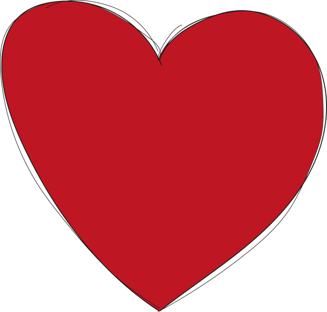 Heart, Red, Love, Form, Drawn By Hand