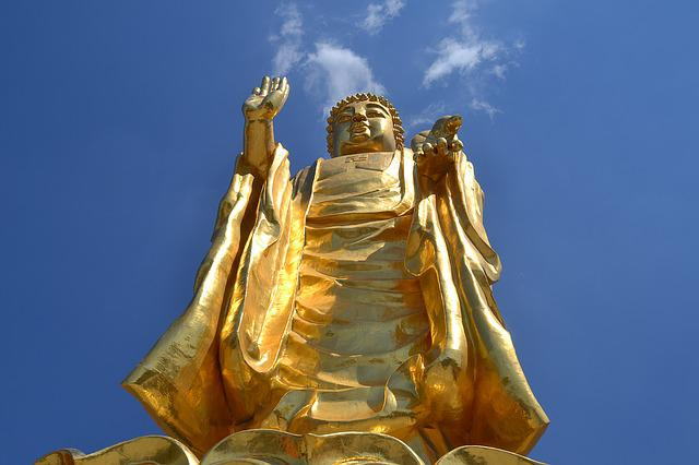 Urumqi, Red Mountain, Buddha Statues, Gold, China