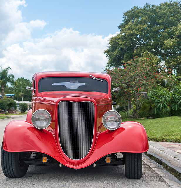 Hot Rod, Car, Antique, Red, Classic, Muscle