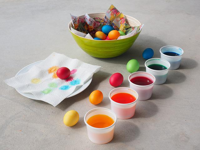 Easter Eggs Colors, Color, Yellow, Orange, Red, Green