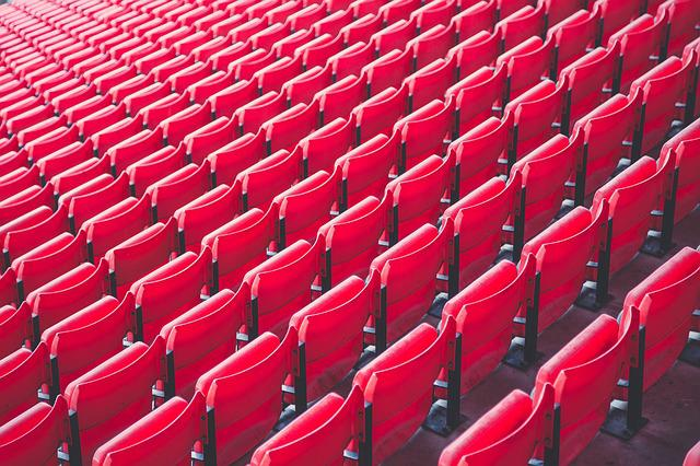 Bleachers, Chair, Pattern, Red, Row, Seat, Stadium