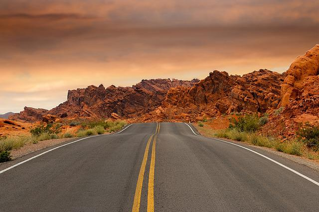 Road, Red Rocks, Rock Formations, Sunset, Street, Empty