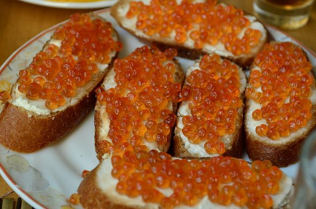 Food, A Sandwich, Caviar, Red, Salmon, Dish