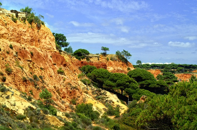 Portugal, Algarve, Rock, Red, Rocky Coast, Sky