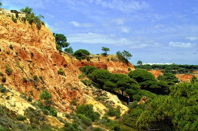Portugal, Algarve, Rock, Red, Rocky Coast, Sky